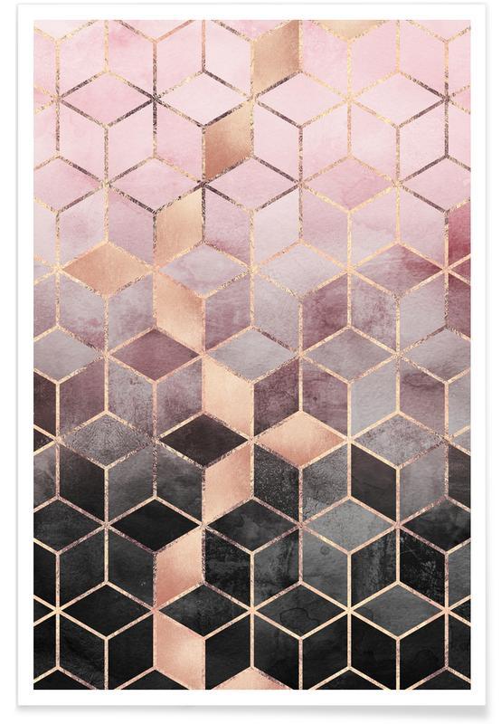 Pink Grey Gradient Cubes -Poster