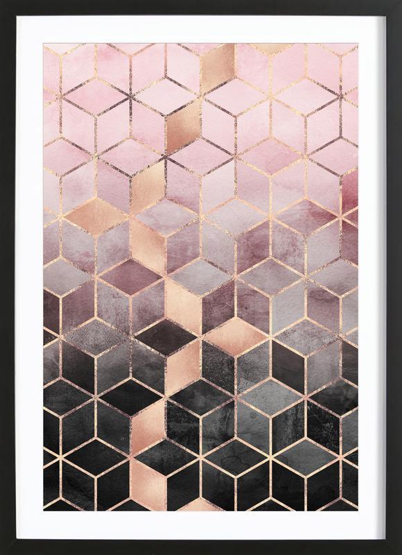 Pink Grey Gradient Cubes Framed Print
