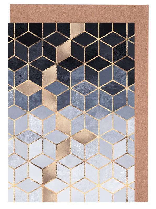 Soft Blue Gradient Cubes cartes de vœux
