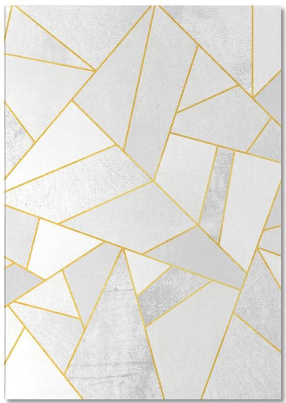 White Stone with Gold Lines -Notizblock