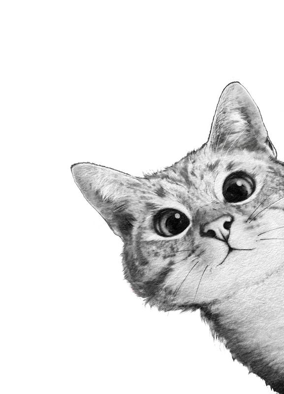 Sneaky Cat canvas doek