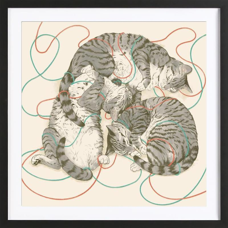 Sleeping Cats ingelijste print