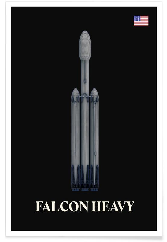 Falcon Heavy-Raumschiff -Poster
