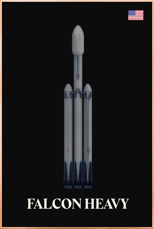 Falcon Heavy 2 Poster in Aluminium Frame