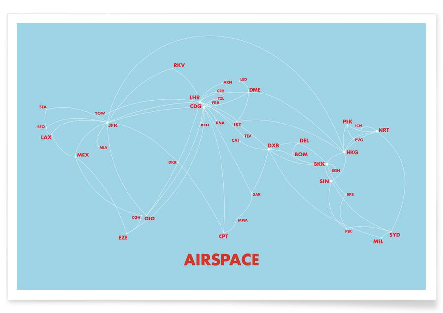 Airspace Map Blue -Poster
