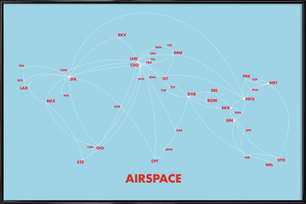 Airspace Map Blue -Bild mit Kunststoffrahmen