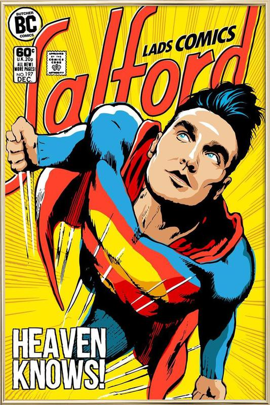 Post-Punk Comix- Super Moz - Heaven Knows -Poster im Alurahmen