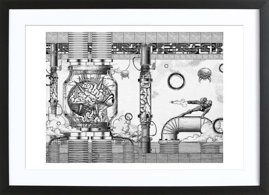 Metroid Mother Brain Vintage Scene Framed Print
