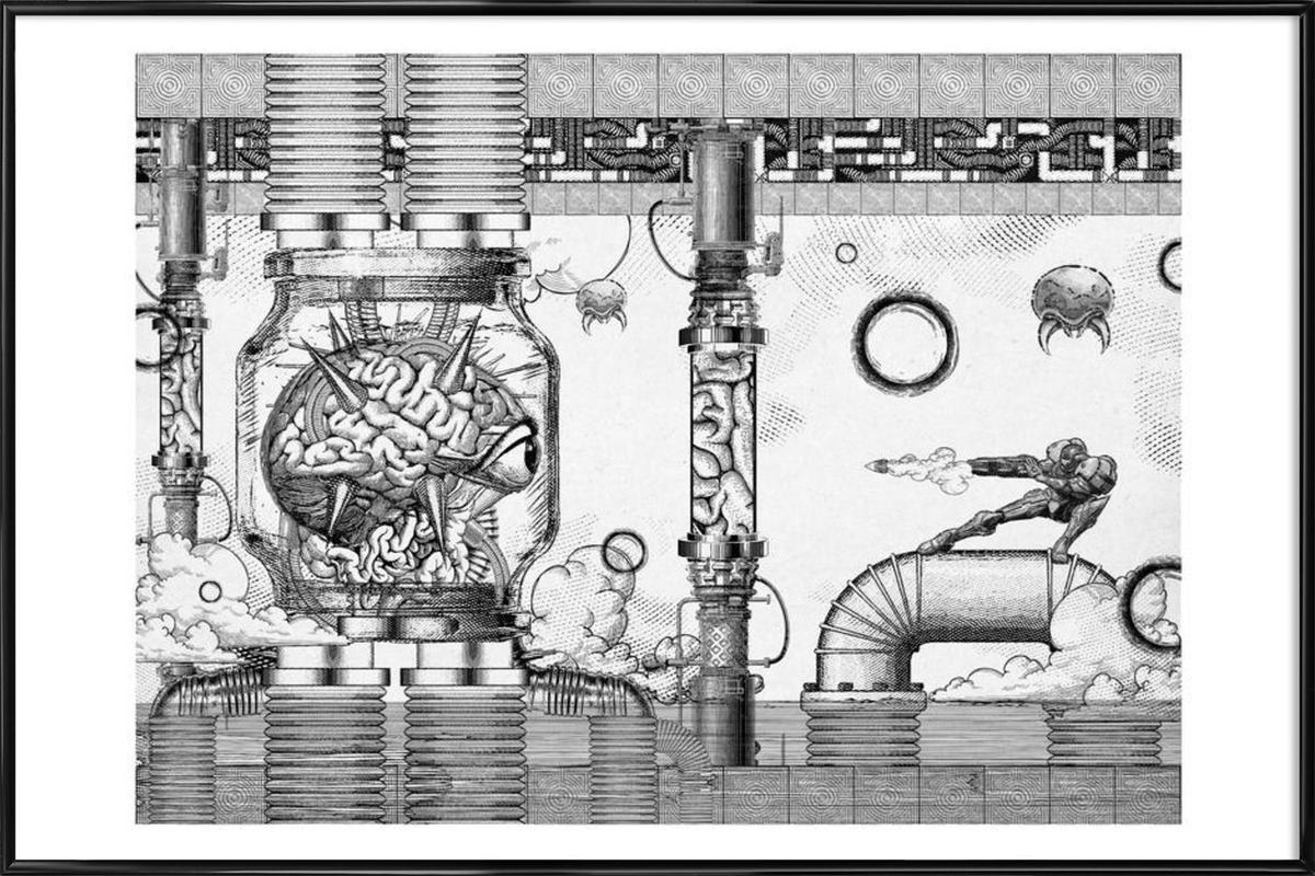 Metroid Mother Brain Vintage Scene Framed Poster
