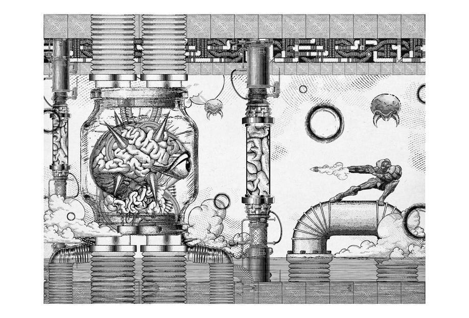 Metroid Mother Brain Vintage Scene Acrylic Print