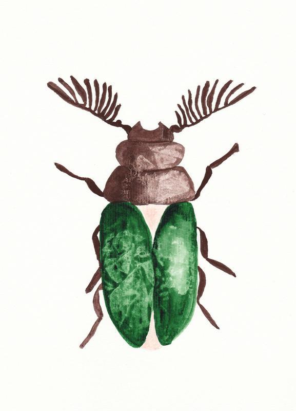 Greeny Beetle -Leinwandbild