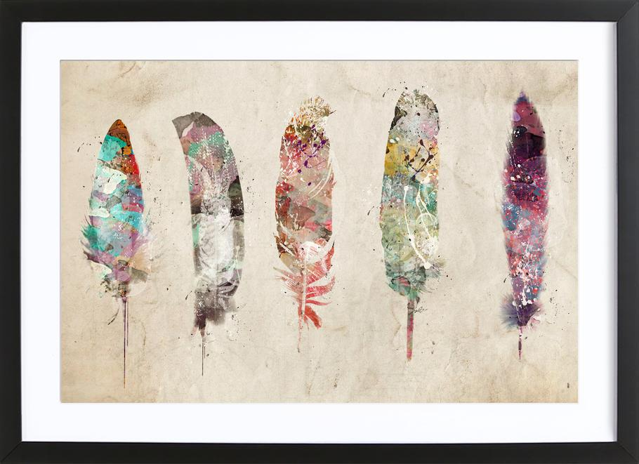 Pop Art Feathers -Bild mit Holzrahmen