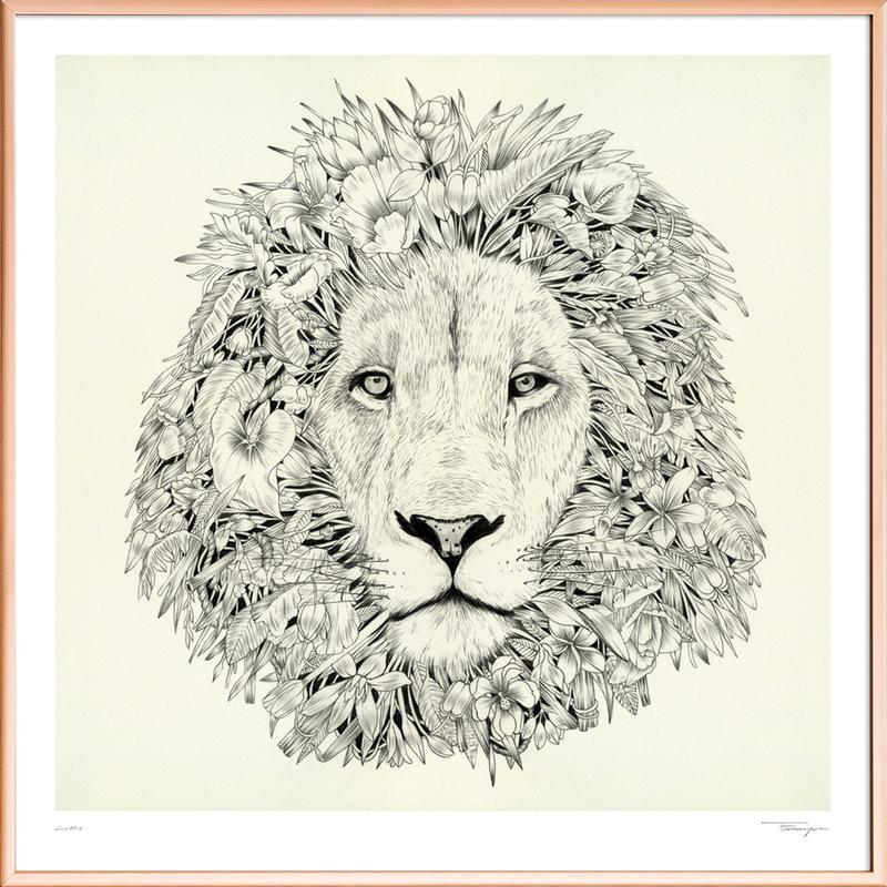 Lion Poster in Aluminium Frame