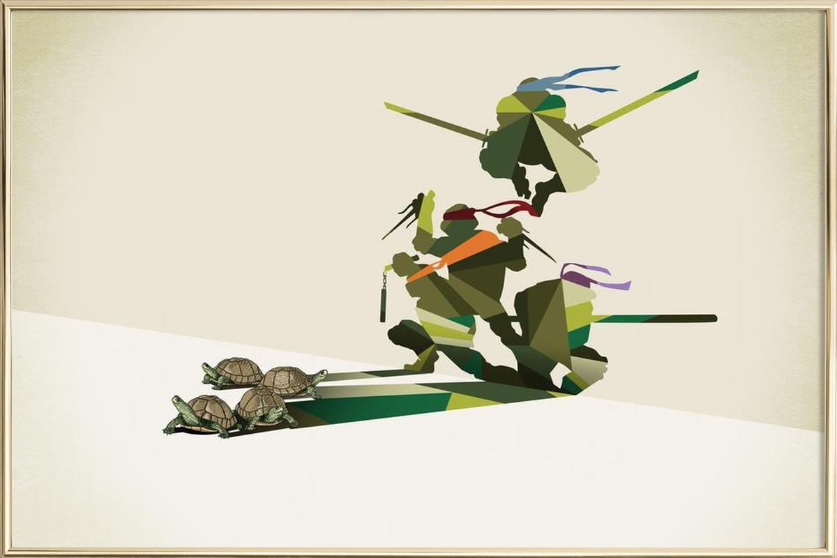 Walking Shadow - Turtles affiche sous cadre en aluminium