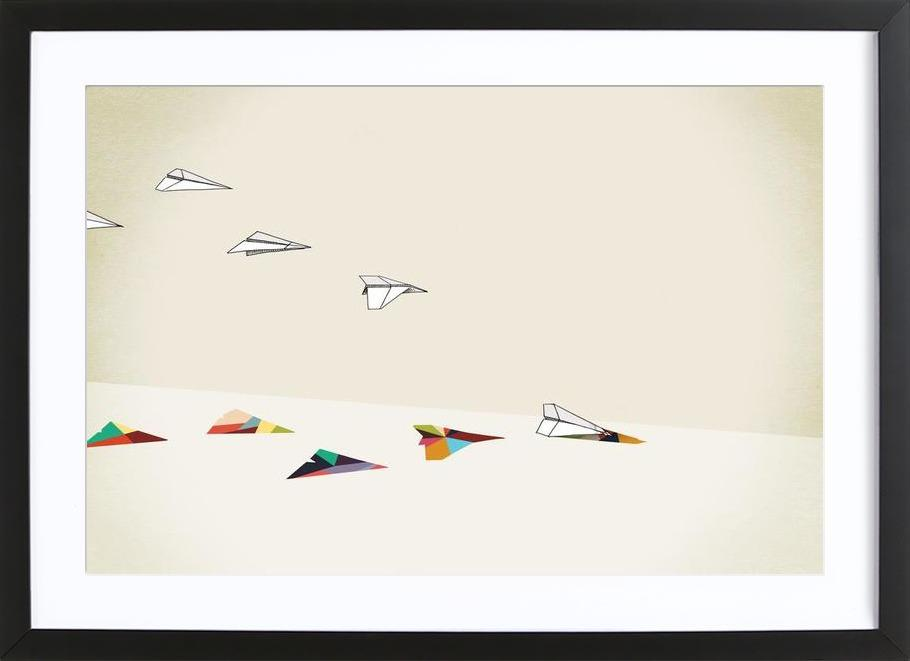 Walking Shadow - Paper Planes Framed Print