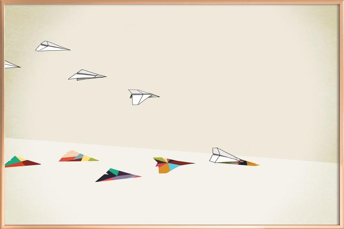 Walking Shadow - Paper Planes Poster in Aluminium Frame