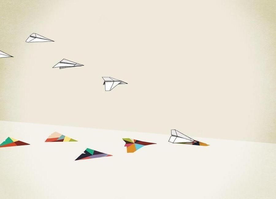 Walking Shadow - Paper Planes canvas doek
