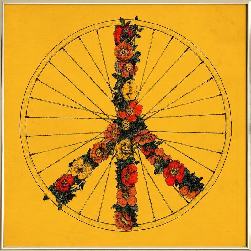 Peace & Bike Poster in Aluminium Frame