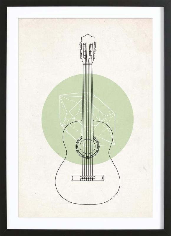 Guitar ingelijste print