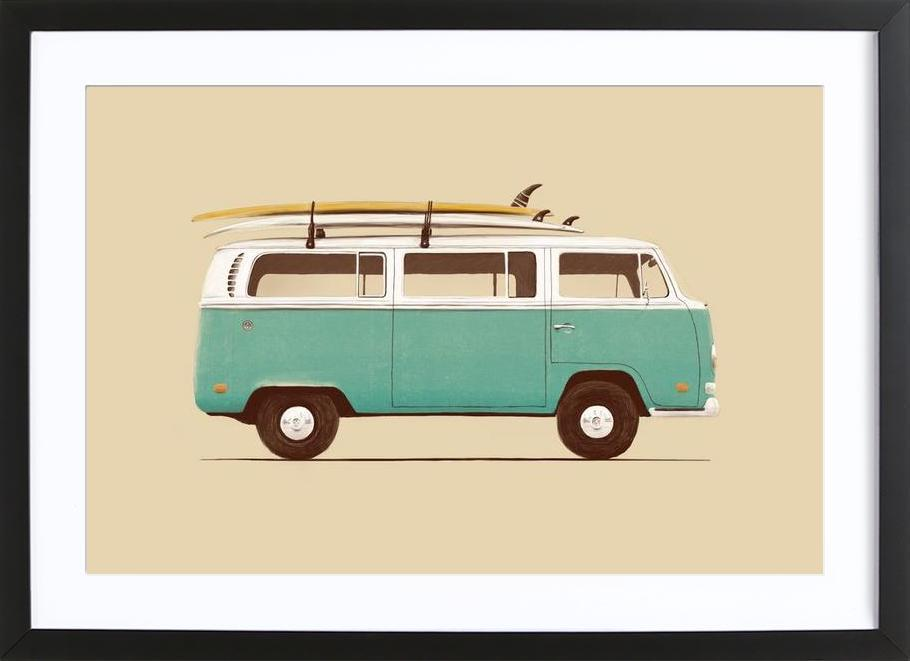 Blue Van affiche sous cadre en bois