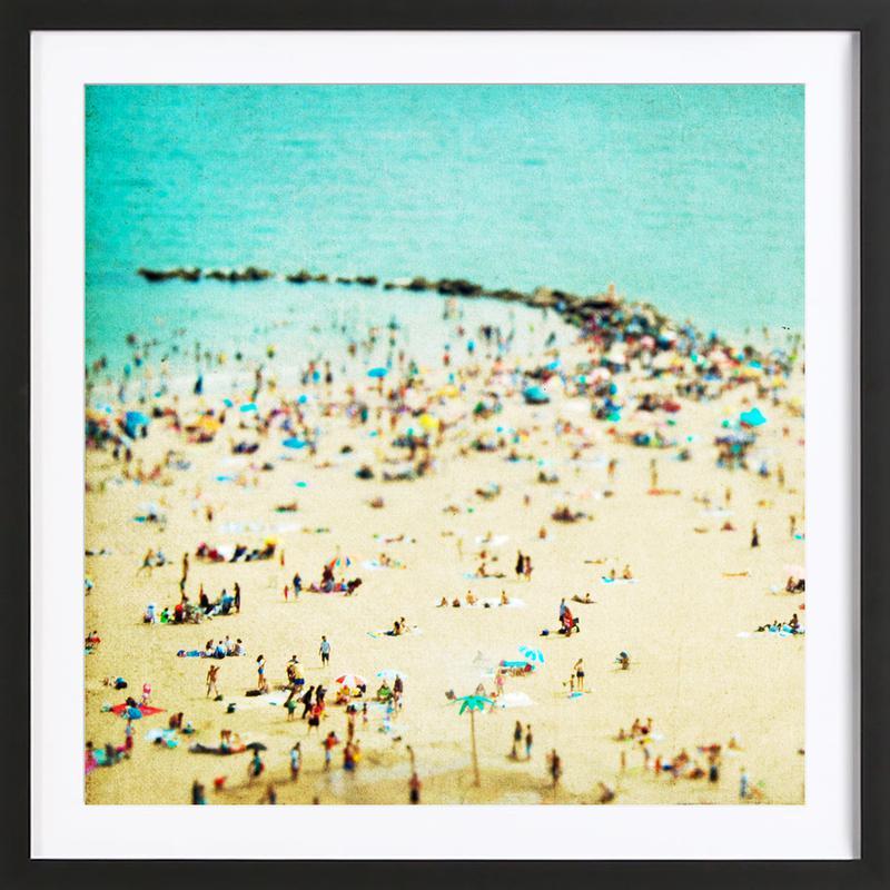 Coney Island Beach 2 -Bild mit Holzrahmen