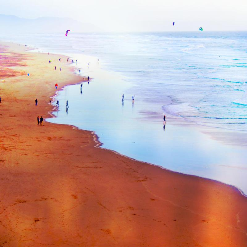 Ocean Beach California Winter Impression sur alu-Dibond