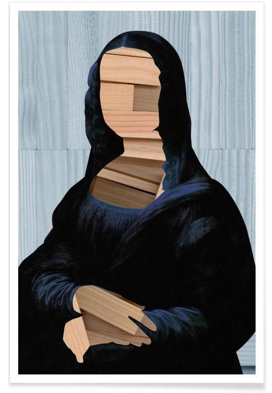 Mona Lisa – blue shining WoodCut Collage -Poster