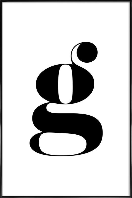 G Letter -Bild mit Kunststoffrahmen