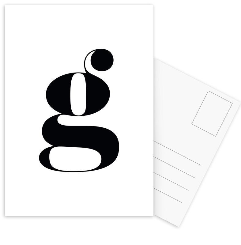 G Letter -Postkartenset