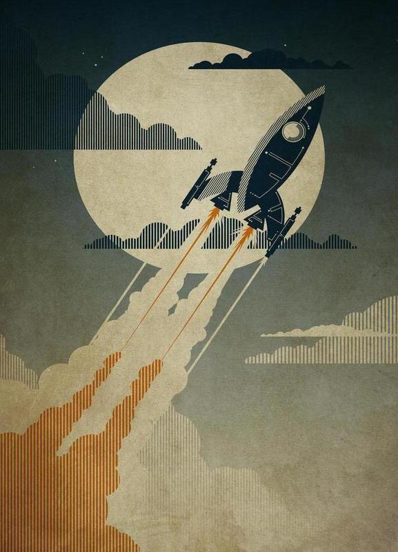 Night Launch -Leinwandbild