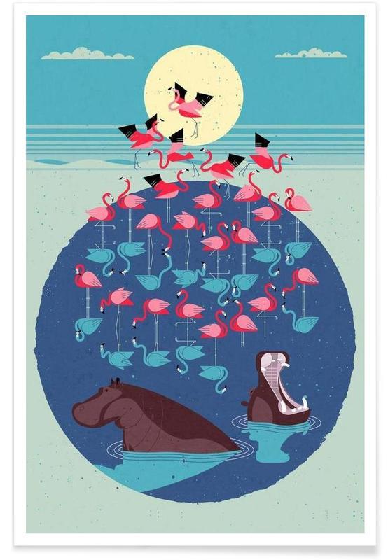 Vintage-Flamingos -Poster