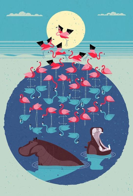 Flamingos Aluminium Print
