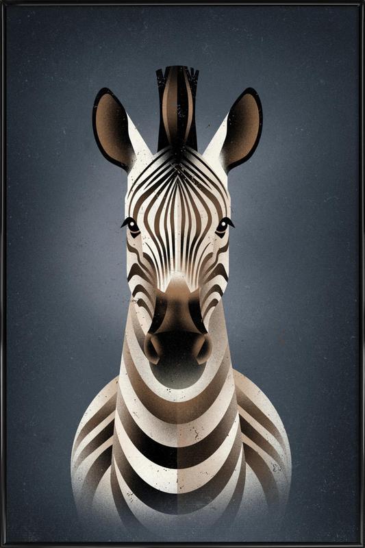 Zebra II -Bild mit Kunststoffrahmen