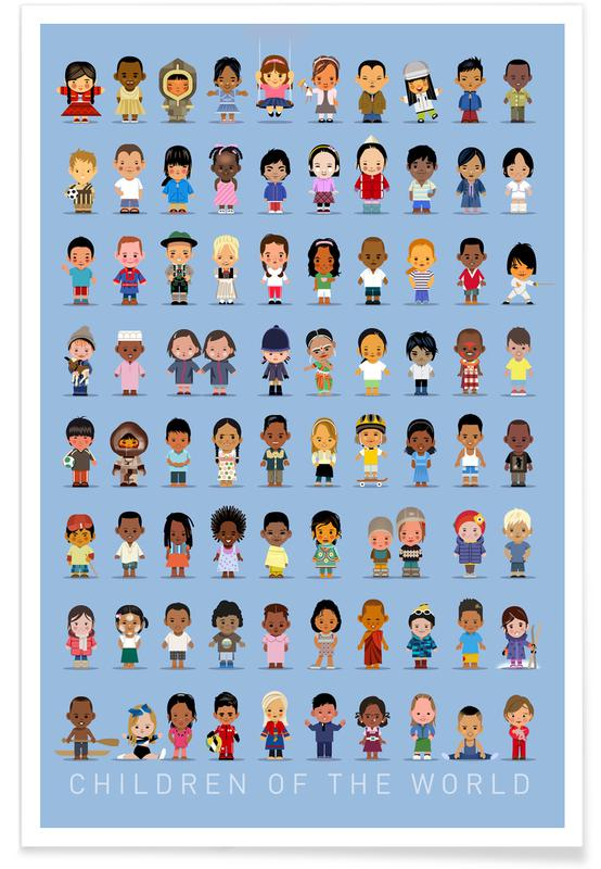 Vintage-Kinder der Welt -Poster