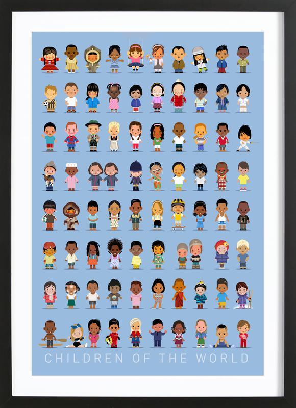 Children Of the World -Bild mit Holzrahmen