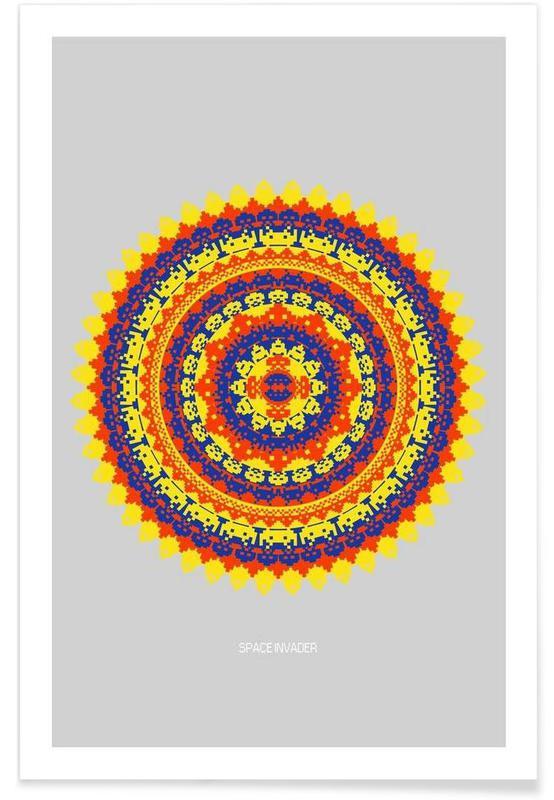 Space Invader Mandala Poster