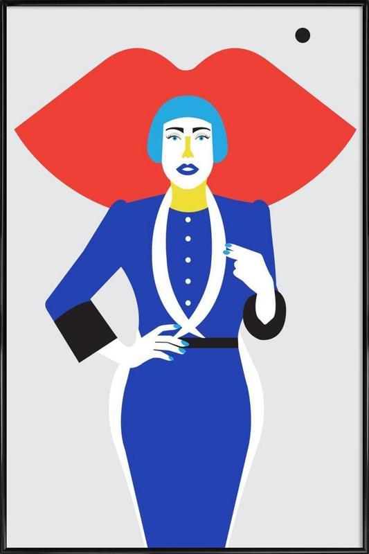 Ofelia Blue Lips -Bild mit Kunststoffrahmen