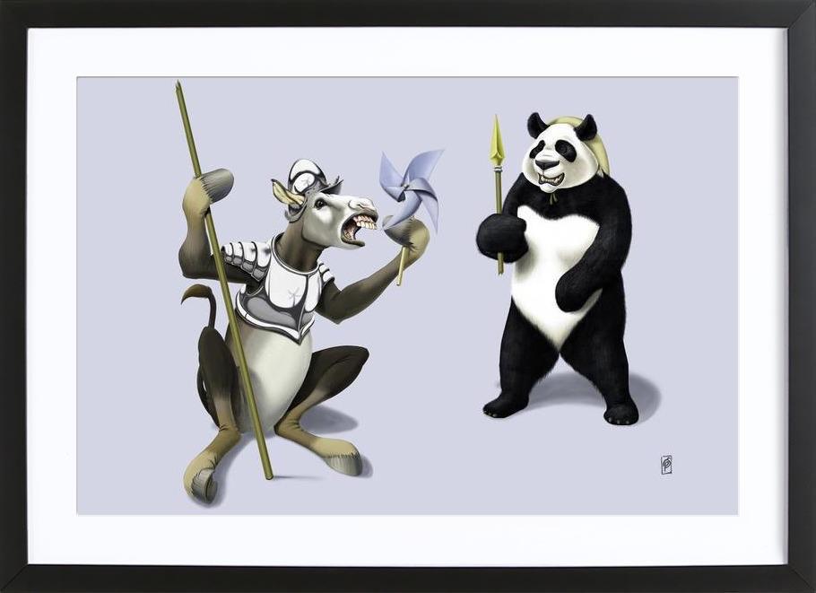 Donkey Xote Sancho Panda (colored) -Bild mit Holzrahmen