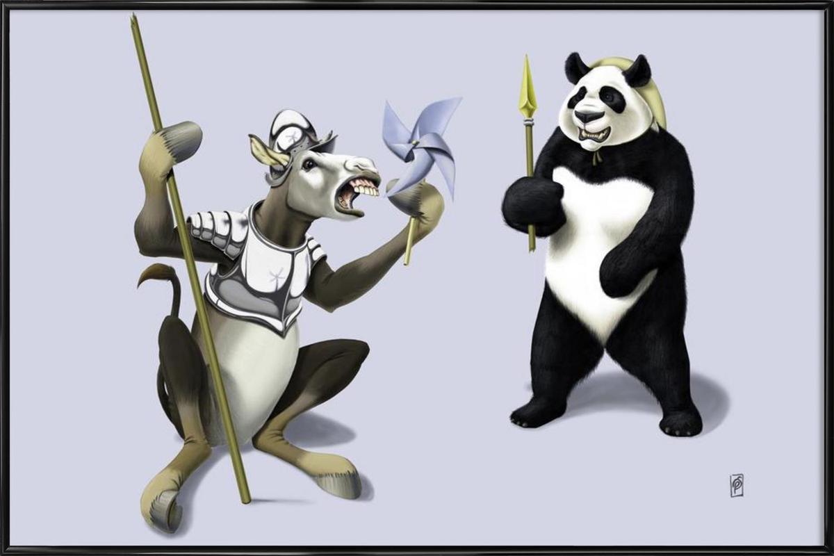 Donkey Xote Sancho Panda (colored) Framed Poster