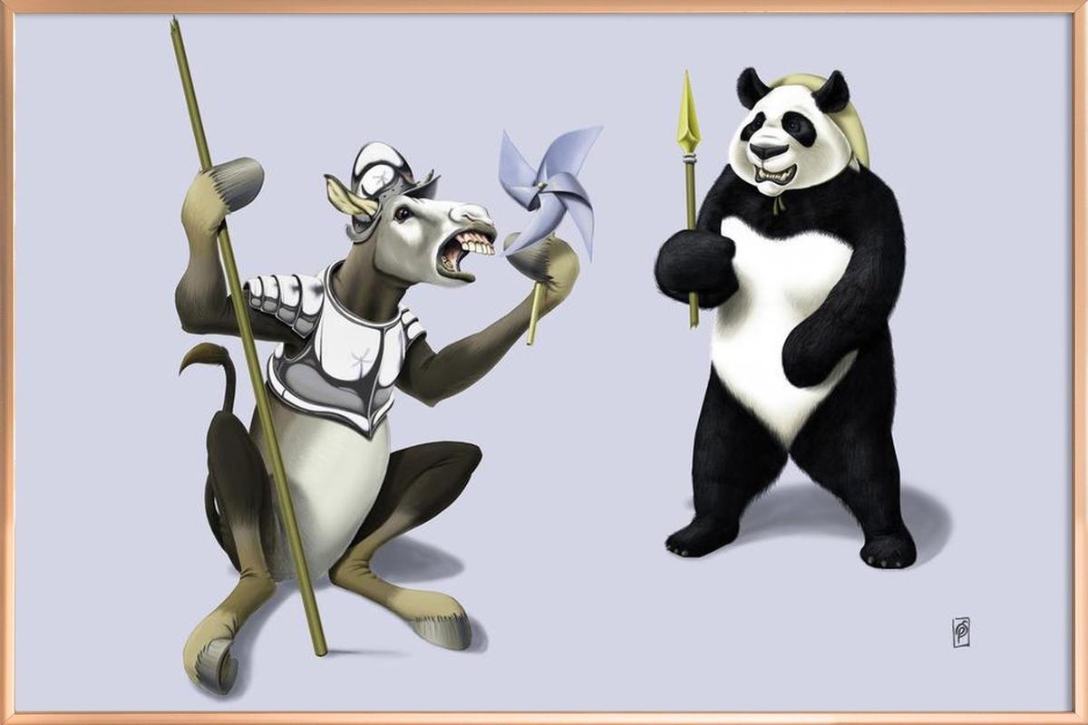 Donkey Xote Sancho Panda (colored) Poster in Aluminium Frame