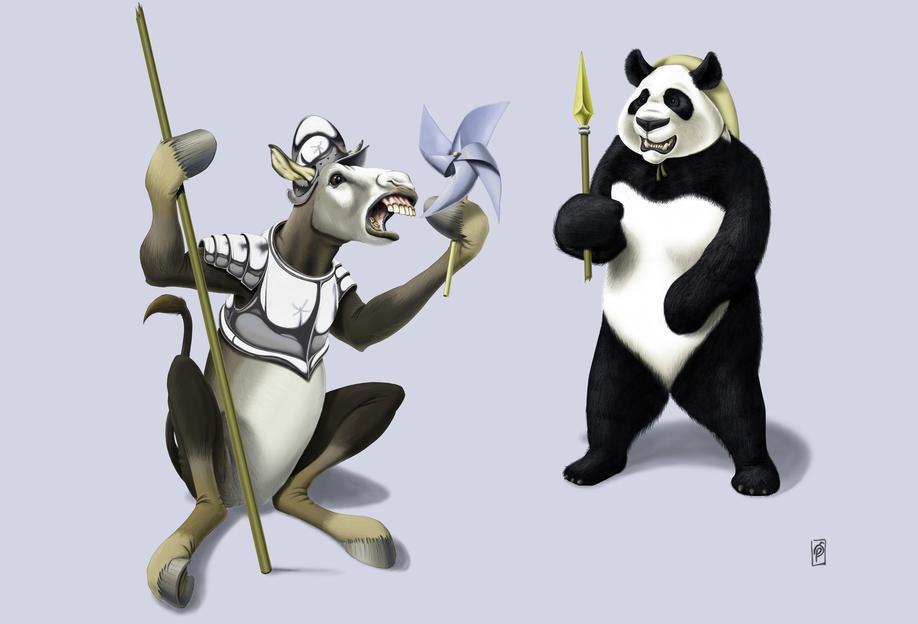 Donkey Xote Sancho Panda (colored) Acrylic Print