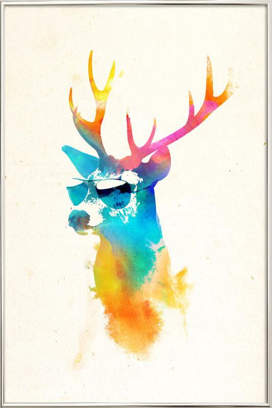 Sunny deer affiche sous cadre en aluminium