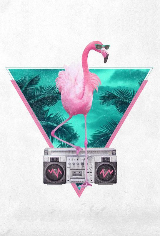 Miami Flamingo tableau en verre