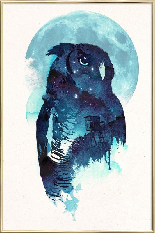 Midnight owl Poster in Aluminium Frame