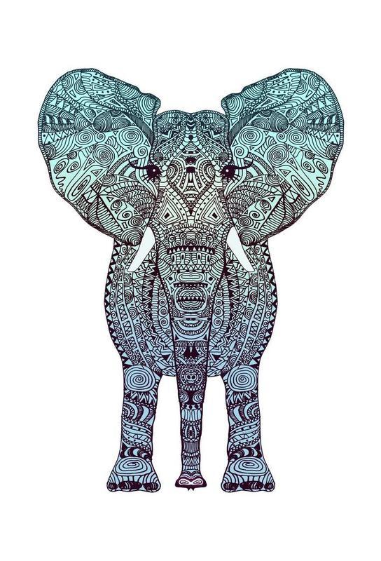 Mint Elephant Aluminium Print