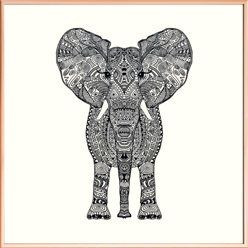 Aztec Elephant Poster in Aluminium Frame