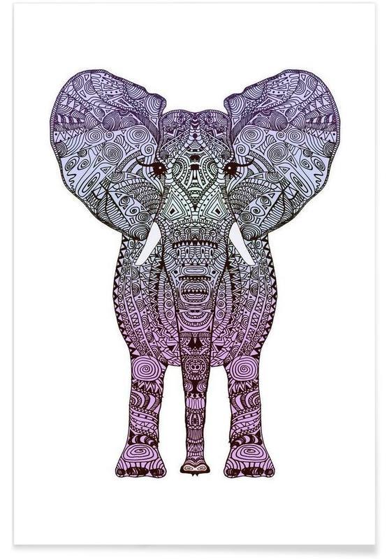 Purple Elephant Poster