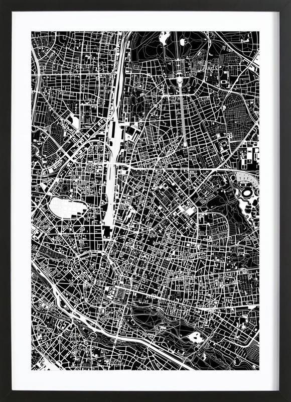 Munich Black & White -Bild mit Holzrahmen