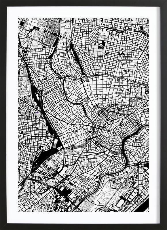 Vienna Black & White -Bild mit Holzrahmen
