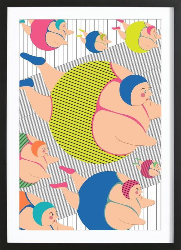 Synchronised Striped Swimmers -Bild mit Holzrahmen